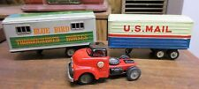 Vintage 1950s SSS Japan Friction Van Horses Trailer US Mail Trailor with Box