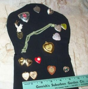 CHARMING OLD LOT OF HEART  SHAPED JEWELRY-INTERESTING PIECES- VARIETY- LOW $$
