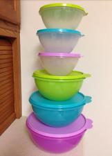 Tupperware Wonderlier Bowls 6pc Set - Mix, Serve, Storage Aqua Purple Green New