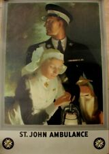 More details for original st john ambulance lithograph officer & nurse poster anna zinkeisen 1955