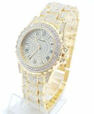 Men's Gold Plated Diamante simulato HIP HOP RAPPER Iced Out orologio Bling Bling