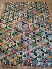 Vintage Handmade Patchwork Quilt Top Folk Art 82x60 Stunning Great Colors WOW