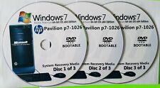 HP Pavilion p7-1026 Factory Recovery Media 3-Discs Set / Windows 7 Home 64bit