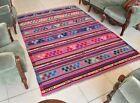Hanmade Kilim 5.6 x 8.1 ft Vintage Traditional Pink Striped Wool Rug Runner C28