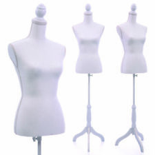 Female Mannequin Torso Dress Form Display W/White Tripod Stand Us Styrofoam New