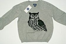 Baby Gap Little Boy Owl Print Pullover Crewneck Sweater Shirt Gray 12 - 18 M NWT