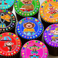 CIRCUS COLOURFUL CHARACTORS HAPPY BIRTHDAY EDIBLE CUPCAKE TOPPER DECORATION