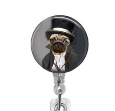 Steampunk Pug Dog Retractable ID Badge Reel Decorative Badge Holder Top Hat