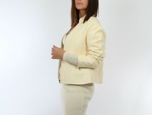 D2K Cream Perforated Leather Cream White Jacket Size M