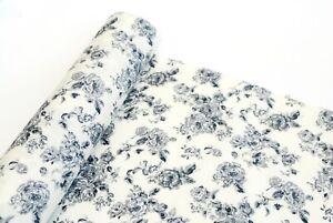 100% Cotton Fabric Vintage Floral, black on ivory, sewing, dressmaking, crafts