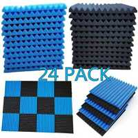 "24 Pack Acoustic Foam Panel Wedge Studio Soundproofing Wall Tiles 1"" X 12"" X 12"""