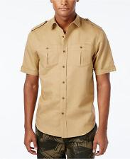 Sean John Linen-Blend Khaki Short Sleeved Military Style Shirt 4XL
