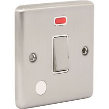 Wessex Brushed Steel 20A DP Switch Neon