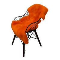 Peau de Mouton / D'Agneau Orange Tondu 100-110 cm Coussin de Siège Tapis Déco