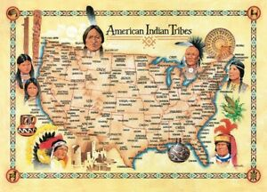 """Jigsaw Puzzle Ethnic Native American Indian Tribes map 500 piece NEW 15""""x21"""""""