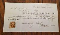 1865 Knowlton Mining Company Mass City Michigan Stock Certificate