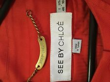 """See by Chloe"" orange peter pan collared long jacket US10 Cotton/Linen/elastine"