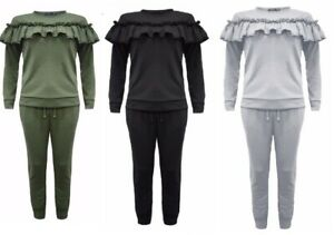 New Kids Frill Detail Top & Jogger Two Piece Girls Lounge Wear Suit Set (5-13)