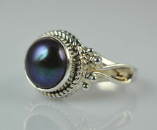 Freshwater Black Pearl Ring 925 Solid Sterling Silver Handmade Jewelry F-Z1/2 AU