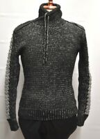 Mens Barabas Sweater Lt.Gray and Black Turtle Neck Ribbed Sleeves