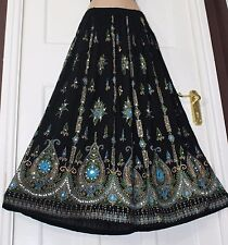 Ladies Party Boho Gypsy Hippie Long Sequin Skirt 8 10 12 14 16 18 20 22 24