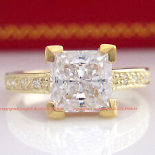 100% Genuine Solid 9K Yellow Gold Engagement Wedding Band Ring Simulated Diamond