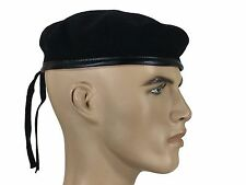 Laulhere French Wool Beret Army Commando Black  6 3/4 - 6 7/8 Made In France