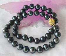 New Fashion 8-9MM Black Genuine cultured freshwater Pearl Necklace 18'' Jewelry