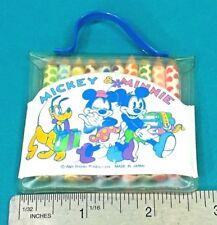 Vintage Walt Disney 10 Mini Colored Pencils Set In Vinyl Bag Minnie Mickey Mouse