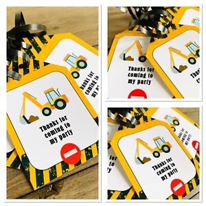 5 x Personalised Digger Construction Party Bag tags GIFT TAGS PARTY BAG LABELS