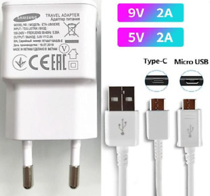 2A EU Wall Charger USB Type C & Micro Cable For Samsung S6 S7 S8 S10 S20 Note 10
