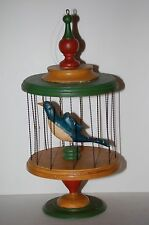 AWESOME June And Walter Gottshall Folk Art carved large Blue bird in cage
