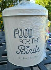 Wild Bird Food Storage Tin with Metal Scoop - Grey OR Cream