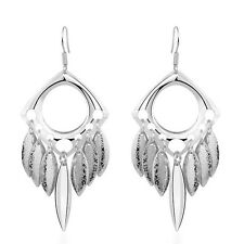 Fashion Silver sandy Circle Leafs Drop Dangle Long Spring Summer Earrings E937