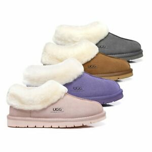 【SALE】UGG Slippers AU Sheepskin Wool Scuffs Homey Water Resistant