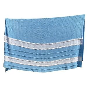 Vintage Afghan Throw King Size Huge Stripe Blanket Sky Baby Blue and White 84x74