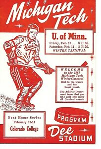 1960-61 Michigan Tech-Minnesota Program Dee Stadium BEAUTY!!
