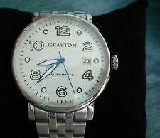 Grayton Automatic Watch White Dial Blue Hands 44 mm Case w SS Bracelet RP $275
