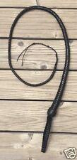 4 foot 12 plait  BLACK LEATHER SIGNAL BULLWHIP  (Self defense, Pocket Bull whip)