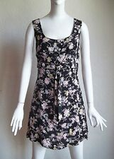 Vintage 90s NANETTE LEPORE Robes Pierre Empire Waist Floral Print MINI Dress 8 M