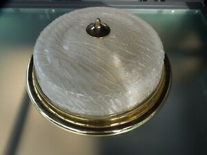 große Deckenlampe Plafoniere 2-flammig Messing und Glas, Ø 43 cm, 50er Jahre
