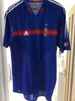 FRANCE ADIDAS HOME OFFICIAL TEAM FOOTBALL SHIRT 2004 VINTAGE ORIGINAL (Large)