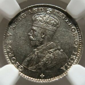 STRAITS SETTLEMENTS Malaysia 5 cents 1918 NGC MS 63 UNC