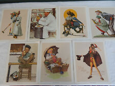 7 VINTAGE NORMAN ROCKWELL 1972 LITHOGRAPHIC PRINTS FISHING, CHEF, CROQUET, ZOO
