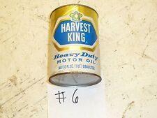 #6 FULL VINTAGE HARVEST KING MOTOR OIL CONTAINER JAR CAN ANTIQUE CAR MEMORABILIA