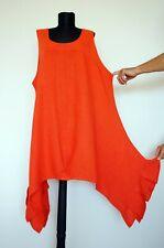 LABASS 100% Linen Orange Asymmetric Lagenlook Dress, Gr. 3
