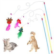 Christmas Pet Toys Cat Interactive Stick Feather Wand Small Bell Mouse Cage T Bh