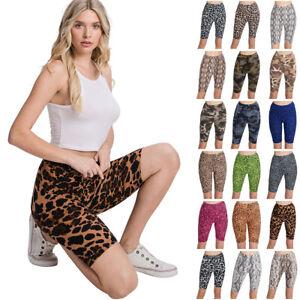 Women's Print Active Pants Yoga Leggings Biker Shorts Pants (S~3XL)