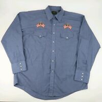 Vintage High Noon Embroidered Blue Western Pearl Snap Shirt American Flag Size L