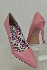 PRADA 1I939F BEGONIA PINK LEATHER POINTED TOE FLORAL CLASSIC PUMPS 38.5 ITALY